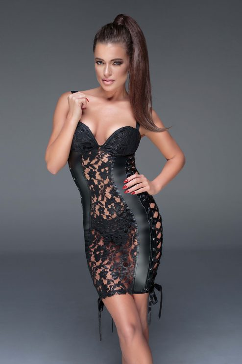 F146-NOIR-HANDMADE-MUSE-Lace-and-wetlook-dress