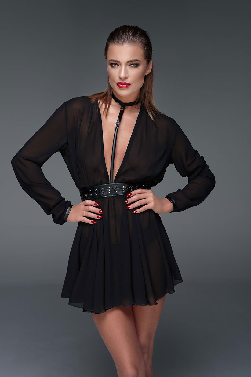 NOIR-HANDMADE-MUSE-F150-Chiffon-minidress-with-choker