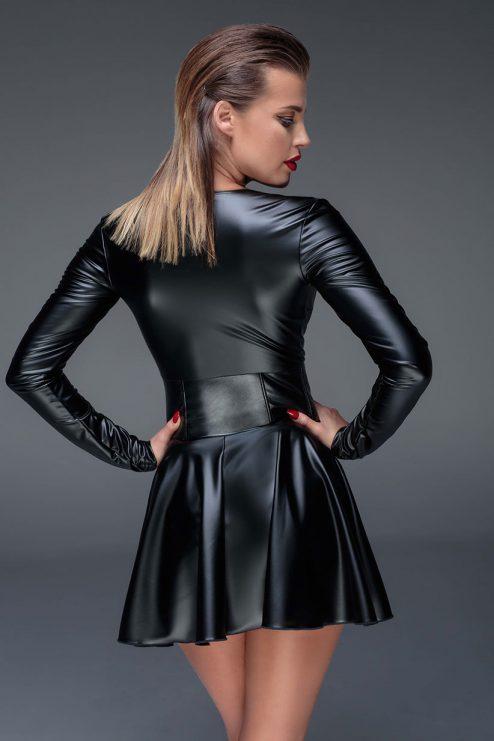 NOIR-HANDMADE-MUSE-F154-Powerwetlook-minidress-with-corset-BACK