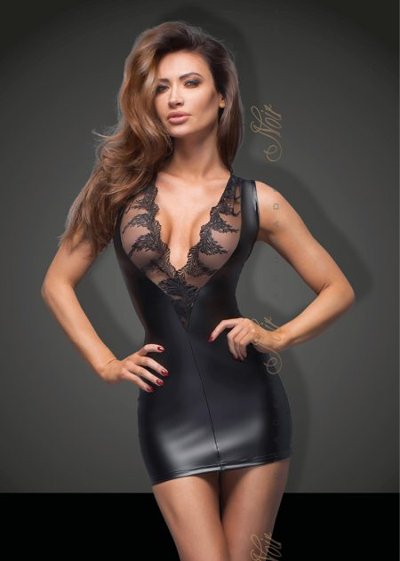 f168-power-wetlook-Sexy-Dress-Noir-Handmade