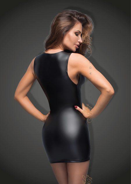 f168-power-wetlook-Sexy-Dress-Noir-Handmade-back