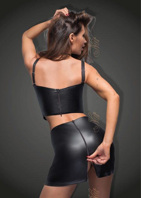 F171-power-wetlook-mini-skirt-Noir-Handmade-back