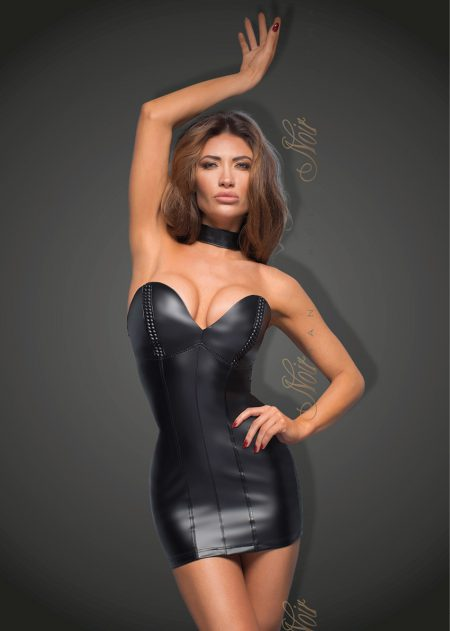 F172-power-wetlook-mini-dress-Noir-Handmade