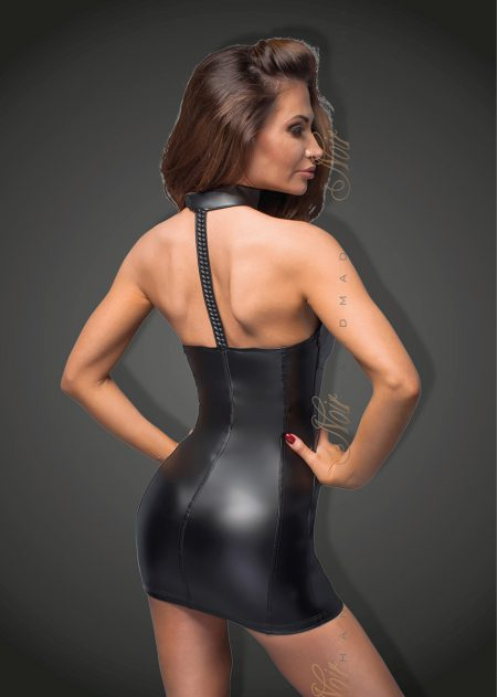 F172-power-wetlook-mini-dress-Noir-Handmade-back,