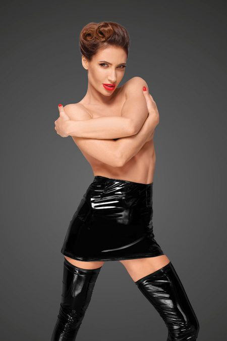 Noir-Handmade-Decadence-F189-sexy-wetlook-mini-skirt
