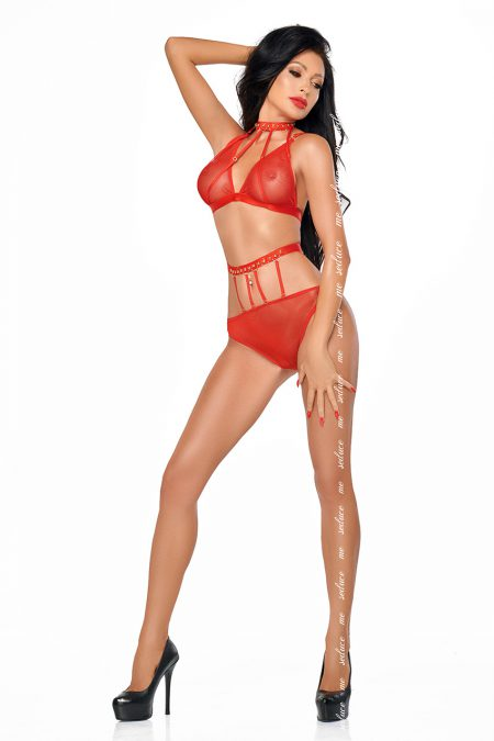 me-seduce dotty-lingerie-set-red
