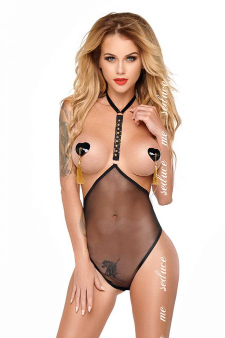 me-seduce linda-black-erotic-teddy-see-through-lingerie