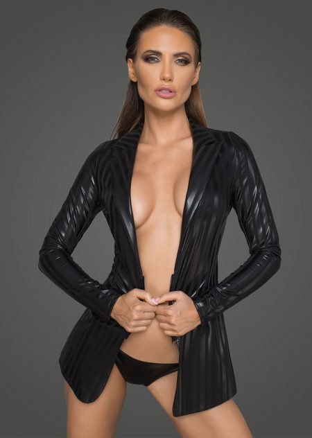 F209-sexy-clubwear-black-wetlook-jacket-for-woman