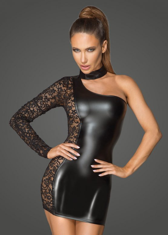 F215-sexy-black-mini-dress-of-wetlook-and-lace-dress