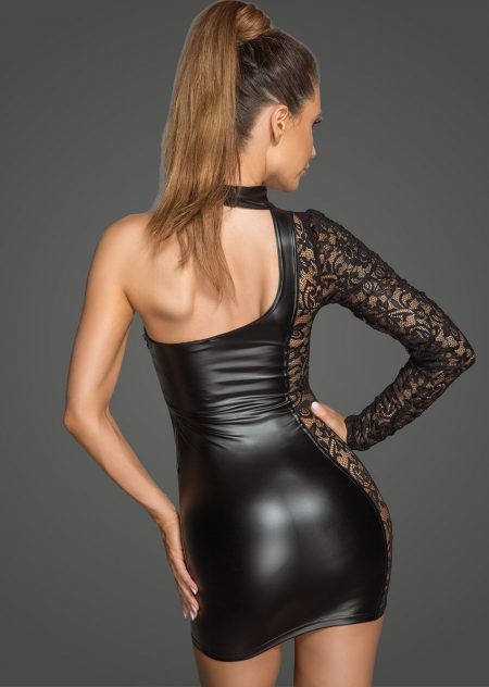 F215-sexy-black-mini-dress-of-wetlook-and-lace-dress-Back