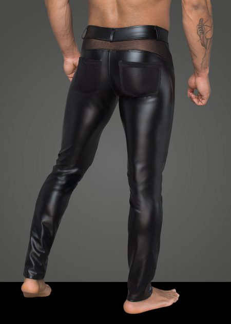 H059-mens-clubwear-fetishwear-wetlook-mens-pants-black-trousers-Back