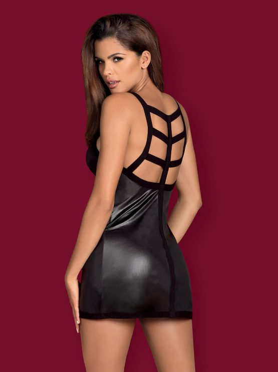 Obsessive-leatheria-chemise-back-wetlook-dress