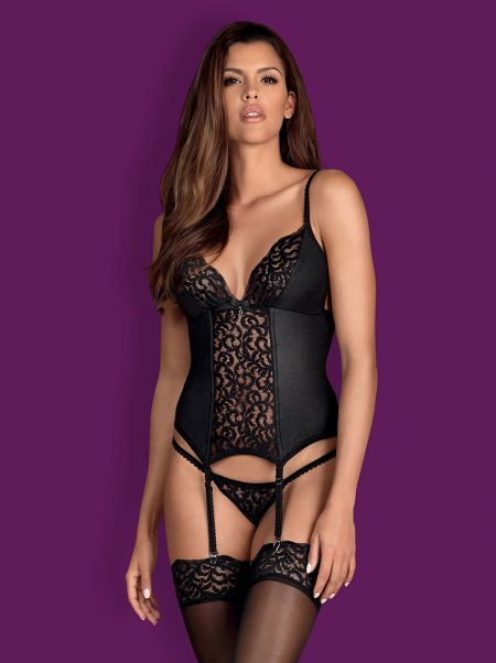 Obsessive-laluna-erotic-lingerie-black-corset-with-lace-plus-thong-included