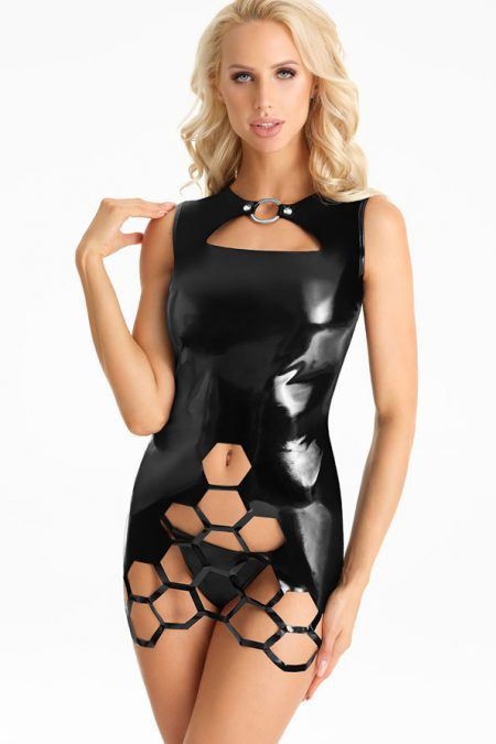 D200-kinky-wetlook-dress-with-honeycomb-shaped-cut-outs-1-7heaven-lingerieamour-erotic-lingerie-erotic-clubwear