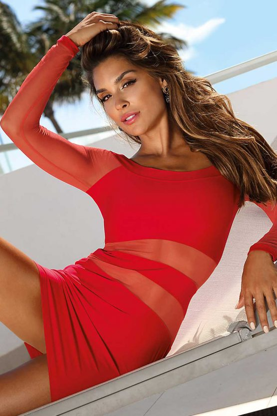V-9299-axami-lingerie-sexy-little-red-dress-with-transparent-stripes-top