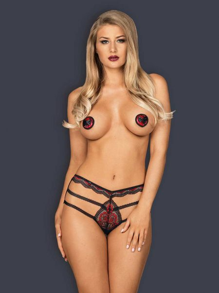 Obsessive-meggies-strappy-panties-of-black-and-red-lace-1