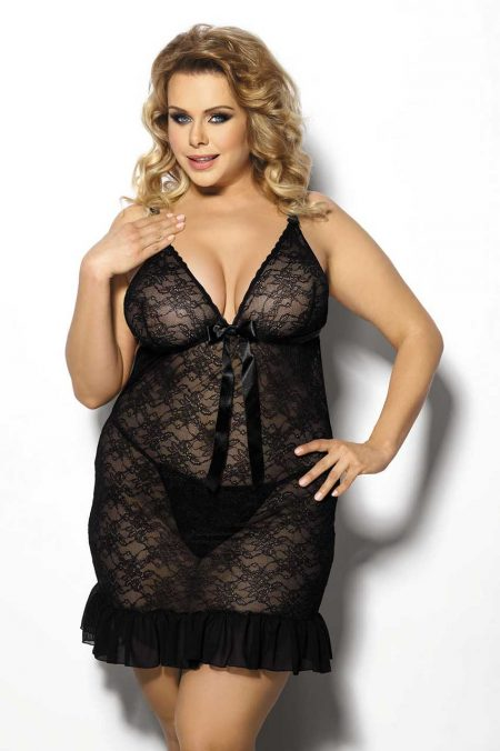 Anais-Plus-Size-lingerie-Evona-black-chemise-lace-night-dress-sexy-lingerie