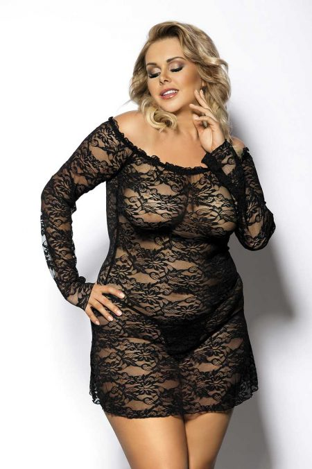Anais-Plus-Size-lingerie-Orangina-transparent-chemise-lace-chemise-sexy-plus-size-lingerie