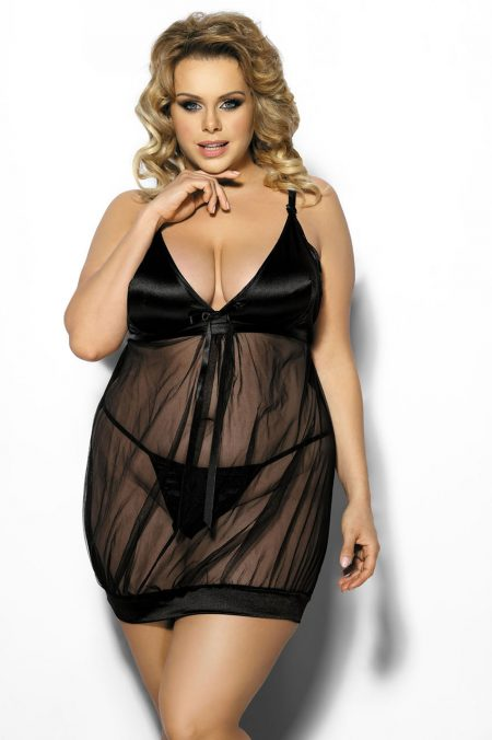 Anais-Plus-Size-lingerie-Solange-sensual-chemise-0f-transparent-tulle-and-satine-sexy-lingerie
