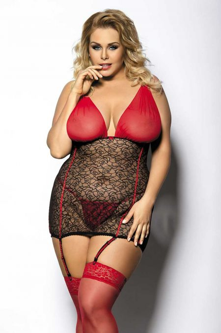 Anais-Plus-Size-lingerie-Yammy-sexy-chemise-black-and-red-sensual-lingerie
