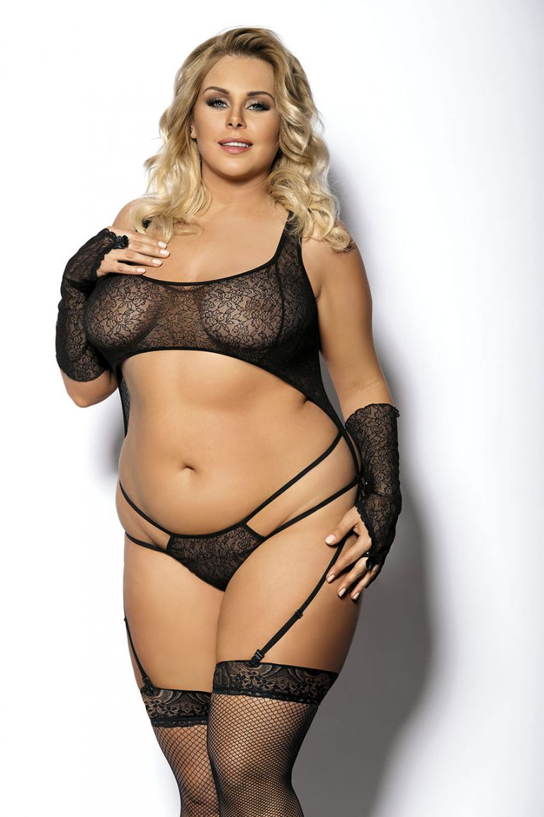 Plus Size Curvy Sexy Lace And Sheer Net Babydoll Lingerie