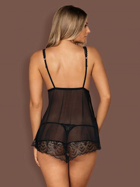 Obsessive-firella-sensual-black-transparent-babydoll-and thong-back