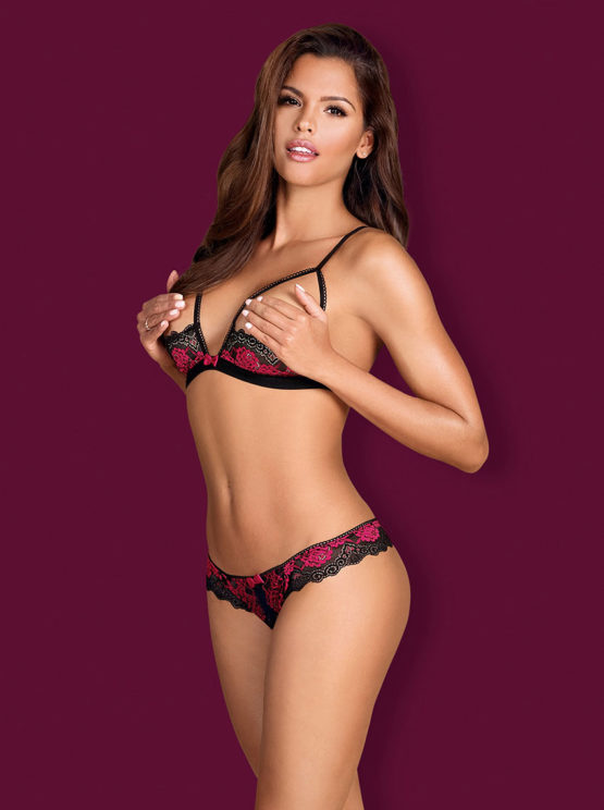 Obsessive-tulia-cupless-set-red-and-black-lingerie-crotchless-string