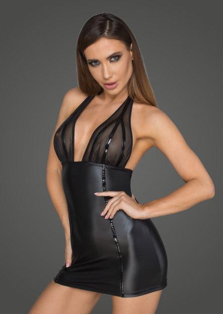 noir-handmade-f058-wetlook-dress-with-transparent-top-halterneck-lacing