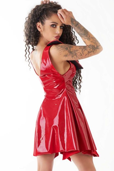 Me-seduce-erotic-red-dress-Atar-sexy-dress-of-wetlook-lack-eco-leather-back